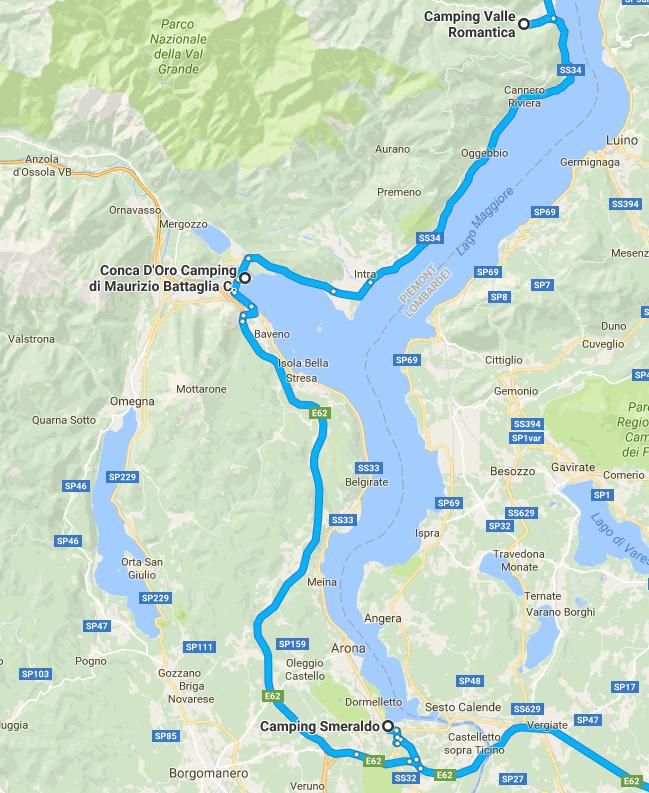 Urlaubsroute 2016 Lago Maggiore